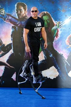 Vin Diesel Went To The 'Guardians Of The Galaxy' Premiere On Stilts I Am Groot, Vin Diesel, Scott Mccall, The Expendables, Jason Statham, Jackie Chan, Jack Nicholson, Clint Eastwood, Upcoming Movies