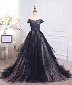 373bae08bc8 Simple black sweetheart tulle long prom dresses