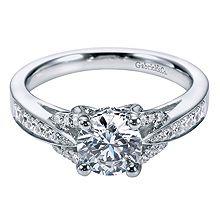 Elegant Gabriel & Co. Platinum Contemporary Split Shank Engagement Ring- customization available at Westshore Diamond!