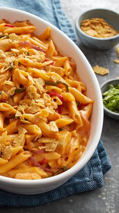 This Tex-Mex twist on macaroni and cheese is packed full of fajita flavors, veggies and plenty of cheese. For perfect baked pasta texture, cook penne just to al dente as directed on package.