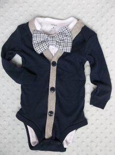 Baby Boy Cardigan Bowtie Onesie for a Preppy by groovyapplique
