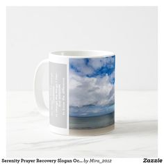 Serenity Prayer Recovery Slogan Ocean Beach Sky Coffee Mug Ocean Beach, Ocean Waves, Serenity Prayer, Inspiring Quotes About Life, Gifts For Friends, Slogan, Photo Mugs, Recovery, Funny Jokes