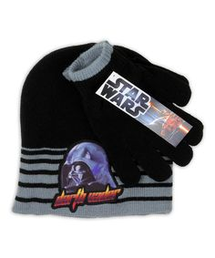 Take a look at this Gray Stripe 'Darth Vader' Beanie & Gloves by Penguin Kids Wear on #zulily today!