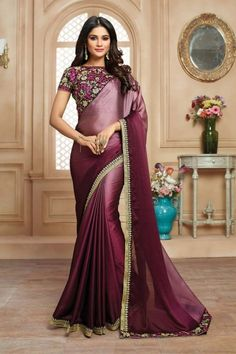 Exclusive Purple Satin Saree With Blouse - DMV12439