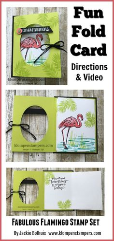 Directions & Video for Fun Fold Card using Stampin' Up! Fabulous Flamingo