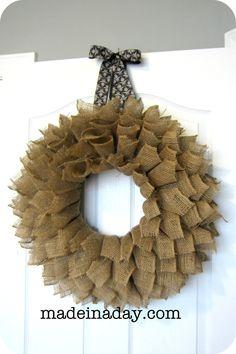 Bookpage Burlap Wreath tutorial, large burlap ribbon rolled bookpage style, jute wreath, hot glue, straw wreath, make a wreath, easy craft, burlap jute....