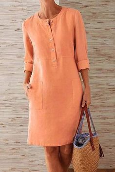 Pockets Front Long Sleeves Linen Mini Dress for a casual look fits daily life Long Sleeve Midi Dress, Maxi Dress With Sleeves, Sleeved Dress, Shirt Dress, Dress Tops, Half Sleeves, Dress Pockets, Peplum Tops, Daytime Dresses