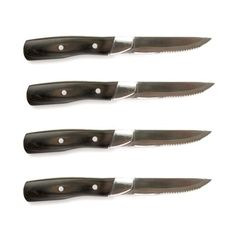 Steven Raichlen Best of Barbecue Forged Stainless and Packwood Steak Knives, Set of 4 by Steven Raichlen. $30.56. Sleek yet hefty. Set of 4 steak knives. Serrated stainless steel blade. Pakkawood handles. A steak knife should feel good in your hand. The sleek Steven Raichlen Best of Barbecue steak knives are hefty without looking chunky. Durable stainless steel serrated blade edge with smooth finished pakkawood handles. Set of 4.. Save 24%!