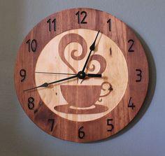 Coffee cup clock Teacup clock Wood clock Wall clock Wooden wall clock Home clock Decorative clock Kitchen decor Cool clock Kitchen decor