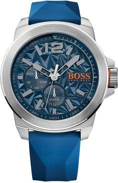 Hugo Boss Men's New York Blue Silicone Strap Watch 50mm 1513348