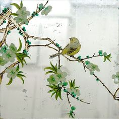 Verre Eglomise Sample: Green Blossom Tree & Yellow Bird. Reverse painting & silver leaf gilding on glass by Timna Woollard Studio