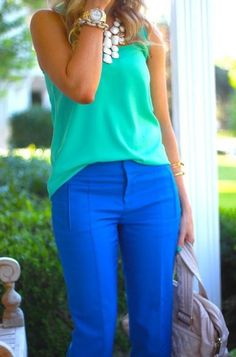 Blue pants can be worn year-round. Pair them with a bright hues in the warmer months and camel in the fall.