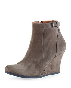 Suede Wedge Ankle Boot, Gray by Lanvin at Neiman Marcus.