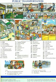 91 - PUBLIC TRANSPORTATION - Pictures dictionary - English Study explanations free exercises speaking listening grammar lessons reading writing vocabulary dictionary and teaching materials English Fun, English Idioms, English Book, English Study, English Words, English Lessons, English Vocabulary, Learn English, English Grammar