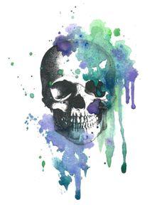 Tatouage temporaire Vintage Skull aquarelle   par TheFickleTattoo