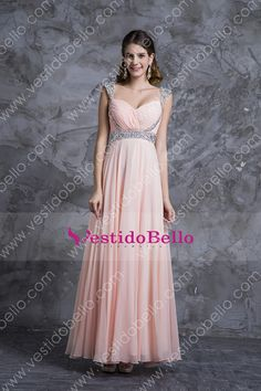 Los más vendidos Vestidos fiesta A-Line V-cuello palabra de longitud gasa cremallera de la espalda