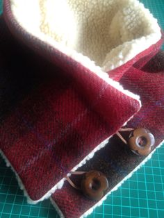 Harris tweed neckwarmer with Sherpa fleece lining and button fastening Fleece Projects, Easy Sewing Projects, Sewing Projects For Beginners, Sewing Tutorials, Sewing Hacks, Sewing Crafts, Sewing Patterns, Sewing Scarves, Sewing Clothes