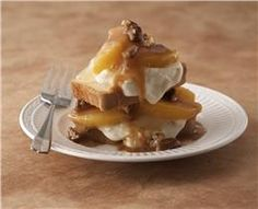 Peaches & Cream Shortcake with Warm Praline-Pecan Sauce. (Lucky Leaf Pie Filling recipes curated by SavingStar Grocery Coupons.)
