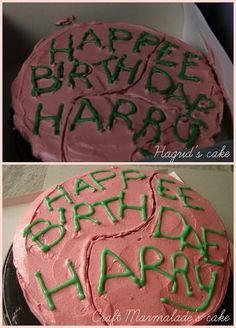 OMG!! I want this exact cake for my birthday!!!! Harry Potter birthday cake - chocolate layer cake and raspberry buttercream