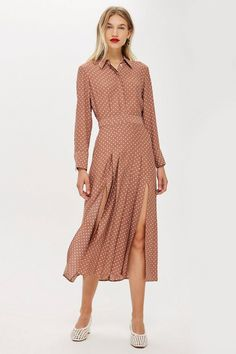 f3685125ce2454 Topshop Rust Spot Print Shirt Dress