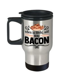 Bacon Lovers Gifts For The Bacon Lover In Your Family Funny Bacon Lover Travel Coffee Mug Gift Bacon Funny, Unisex Gifts, Cricut Tutorials, Coffee Travel, Gift For Lover, Funny Gifts, Gifts For Him, Drinking, Coffee Mugs