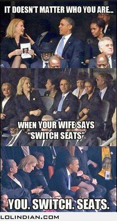 Obama, Michelle switching seats funny.