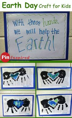 Earth Day Hands Around World Kids Paint Craft - cute way for kids to show they care about the environment! #earthday #earth #kids