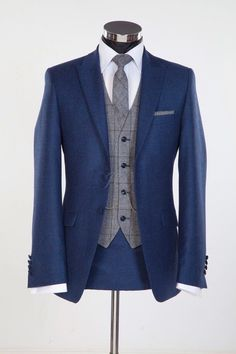 Wedding Suit Blue Suit - Wedding Trends For Grooms For 2015 From Gentlemens Outfitters Jack Bunneys Including Flannel, Patterned Waistcoats And Coloured Suits Blue Suit Wedding, Wedding Men, Wedding Attire, Wedding Trends, Wedding Ideas, Grey Wedding Suits For Men, Vintage Wedding Suits, Tweed Wedding Suits, Wedding Tuxedos