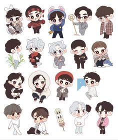 EXO FUNART😍😍💗 Chanbaek, Kaisoo, Exo Stickers, Cute Stickers, Exo Cartoon, Exo Fanart, Exo Anime, Kawaii Doodles, Chibi Characters