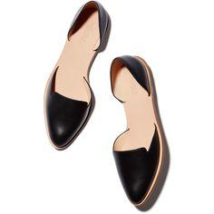 Loeffler Randall Prue Flat Goop ❤ liked on Polyvore featuring shoes, flats, flat heel shoes, kohl shoes, calfskin shoes, black flat shoes and loeffler randall flats