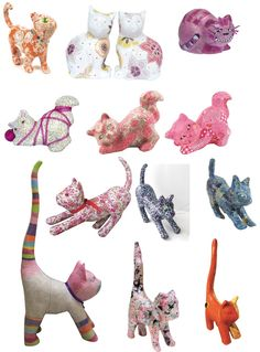 Decopatch decoupage decorated craft cats (made from papier mache).  Decorated using pretty decorative paper from #Decopatch.
