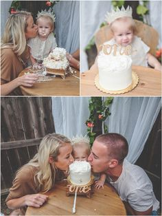 When it came time for Emme to taste her first cake, Mom and Dad joined in to show this sweet girl how it's done. Nugget Bakery did a phenomenal job providing a cake that was simple yet beautiful for this sweetie's first birthday! Alexis Mattox Designs also provided a beautiful cake topper! Source: Rochelle Wilhelms Photography via Pretty My Party