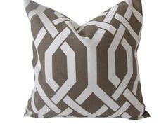 Decorative Designer Pillow CoverTreillage in Mink 18x18 by nenavon, $32.00
