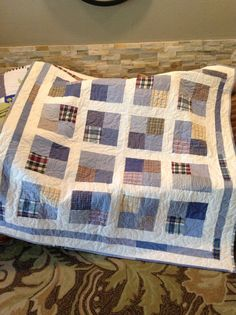 Memory Quilts Made From Shirts And Jean Pockets Quilt