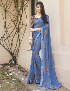 Blue Color Georgette Party Wear Sarees : Shehnaz Collection YF-42399 | YellowFashion.in
