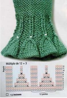 Knitting result for smocking pattern - Knitting and Crochet Baby Knitting Patterns, Knitting Stiches, Knitting Charts, Lace Knitting, Knitting Designs, Crochet Stitches, Knit Crochet, Crochet Patterns, Wrist Warmers