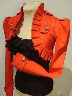 Red Victorian/military bolero jacket by blackmirrordesign on Etsy, $175.00 #etsy #orange #bolero