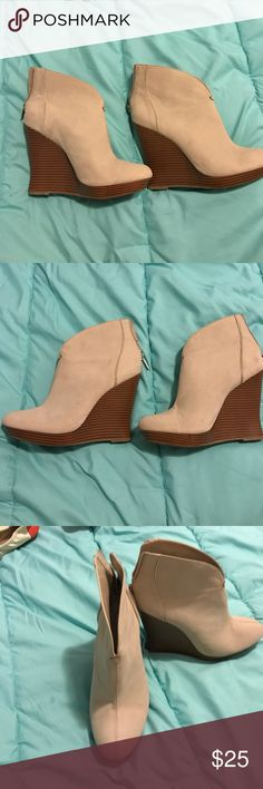 Jennifer Lopez tan wedge. Worn for a few hours, still like new! Zipper on the back of ankle for easy on and off. Great shoe to add a little pop to an everyday outfit. Jennifer Lopez Shoes Wedges