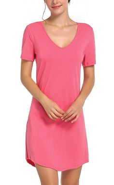 Women s Nightgown Cotton Nightwear Loose Short Sleeve Sleepwear XS to XXL -  Watermelon Red - C61864KIMZI 670ccf784