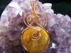Dendritic Australian Opalite wire wrapped pendant in 14K rose gold by NancysDesigns4you on Etsy