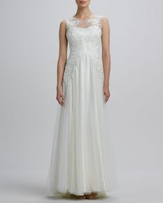 Boat-Neck Embroidered Tulle Gown by Catherine Deane at Neiman Marcus.