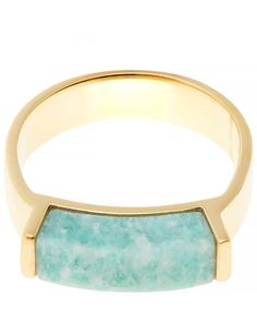 Monica Vinader Gold Plated Amazonite Linear Ring