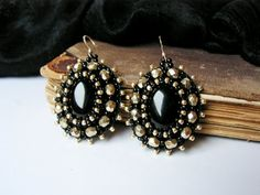 Bead emboidery Earrings Black Gold Earrings Beadwork earrings Onyx Earrings Bead embroidery jewelry Black Gold Dangle Earrings MADE TO ORDER...