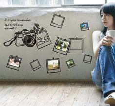 Camera Photo Frame Memory Wall Stickers Decals Art Removable Home Decor