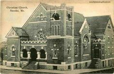 Neosho, Missouri, Christian Church, vintage postcard, historic photo