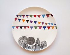 Village Wall Plate from ZuppaAtelier on Etsy. Saved to Happy Home. Shop more products from ZuppaAtelier on Etsy on Wanelo. Pottery Painting, Ceramic Painting, Ceramic Art, Hanging Plates, Plates On Wall, Plate Wall, Ceramic Plates, Ceramic Pottery, Porcelain Pens