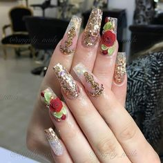 25 Elegant Nail Designs to Inspire Your Next Mani - Major Mag Dope Nails, Crazy Nails, 3d Nails, Acrylic Nails, Elegant Nail Designs, Elegant Nails, Cute Nail Designs, Fabulous Nails, Gorgeous Nails