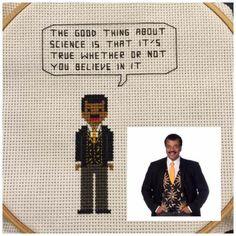 Tiny 8bit Neil deGrasse Tyson cross stitch pattern $3 www.BadassCrossStitch.com