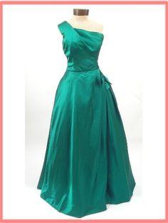 1960s Harvey Berin/Karen Stark One Shoulder Green Satin Evening Gown