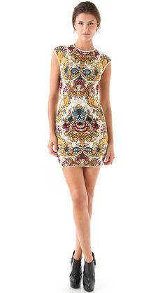 Beautiful pattern dress by Torn by Ronny Kobo; Victoria Parisian Folklore Dress.